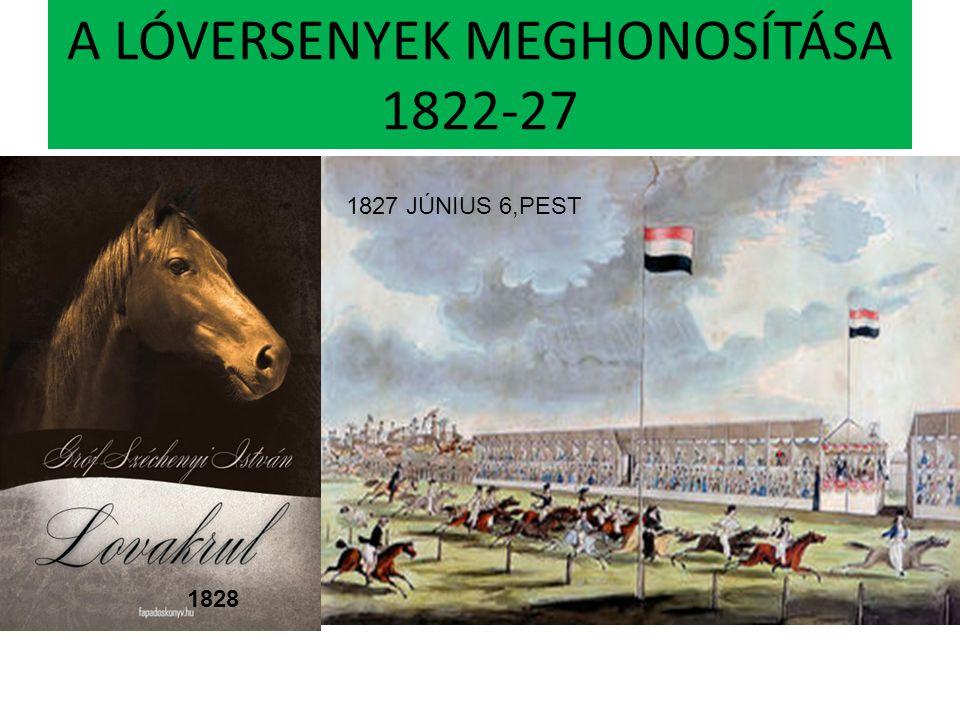 A LÓVERSENYEK MEGHONOSÍTÁSA 1822-27 1828 1827 JÚNIUS 6,PEST