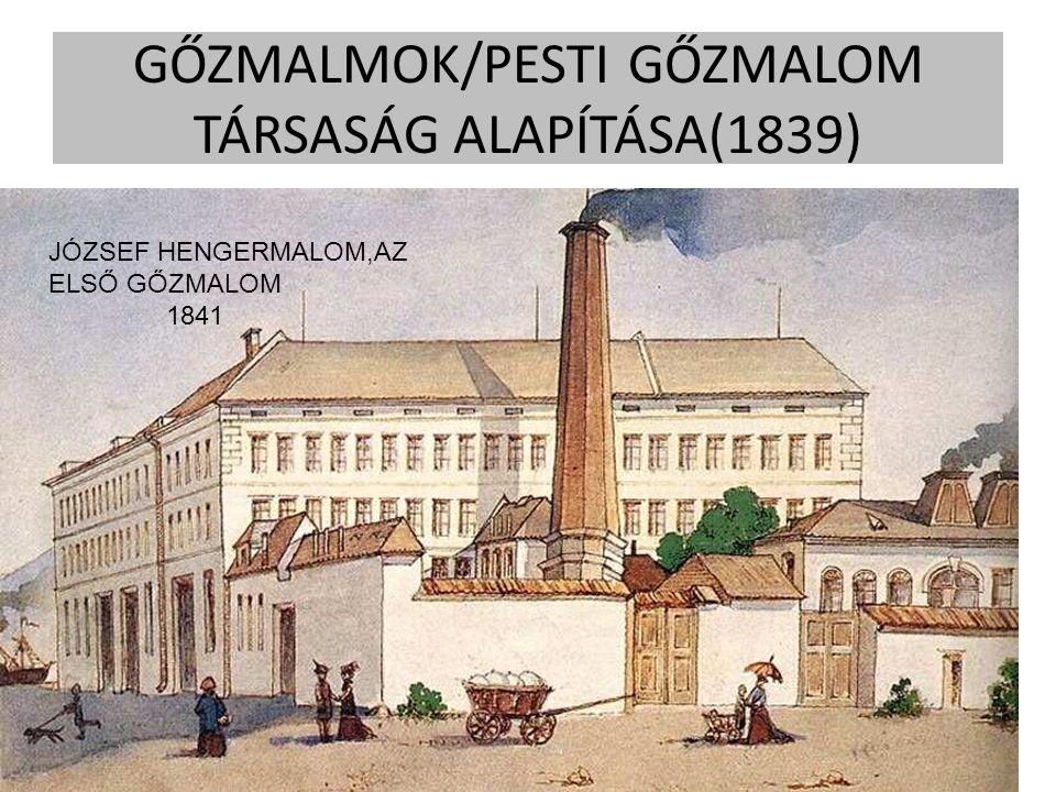 GŐZMALMOK/PESTI GŐZMALOM TÁRSASÁG ALAPÍTÁSA(1839) JÓZSEF HENGERMALOM 1841 JÓZSEF HENGERMALOM,AZ ELSŐ GŐZMALOM 1841