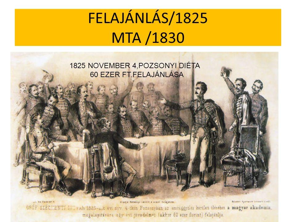 FELAJÁNLÁS/1825 MTA /1830 1825 NOVEMBER 4,POZSONYI DIÉTA 60 EZER FT.FELAJÁNLÁSA