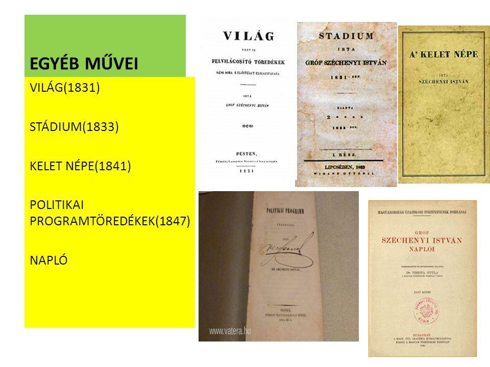 EGYÉB MŰVEI VILÁG(1831) STÁDIUM(1833) KELET NÉPE(1841) POLITIKAI PROGRAMTÖREDÉKEK(1847) NAPLÓ