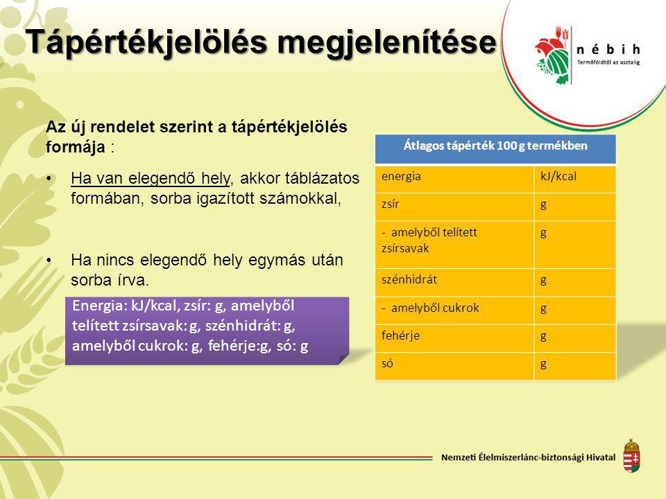 Tápértékjelölés megjelenítése Az új rendelet szerint a tápértékjelölés formája : Ha van elegendő hely, akkor táblázatos formában, sorba igazított szám