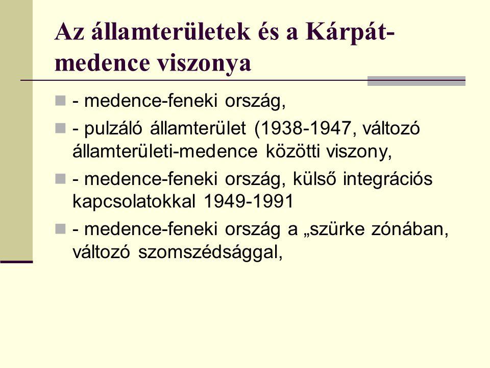 """Az államterületek és a Kárpát- medence viszonya - medence-feneki ország, - pulzáló államterület (1938-1947, változó államterületi-medence közötti viszony, - medence-feneki ország, külső integrációs kapcsolatokkal 1949-1991 - medence-feneki ország a """"szürke zónában, változó szomszédsággal,"""