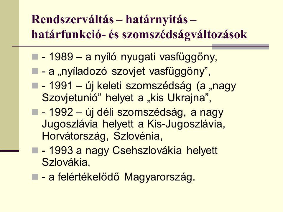 """Rendszerváltás – határnyitás – határfunkció- és szomszédságváltozások - 1989 – a nyíló nyugati vasfüggöny, - a """"nyíladozó szovjet vasfüggöny , - 1991 – új keleti szomszédság (a """"nagy Szovjetunió helyet a """"kis Ukrajna , - 1992 – új déli szomszédság, a nagy Jugoszlávia helyett a Kis-Jugoszlávia, Horvátország, Szlovénia, - 1993 a nagy Csehszlovákia helyett Szlovákia, - a felértékelődő Magyarország."""