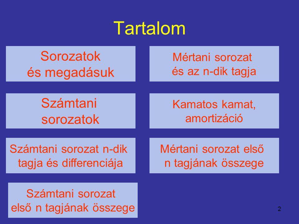 2 Tartalom Sorozatok és megadásuk Számtani sorozatok Számtani sorozat n-dik tagja és differenciája Számtani sorozat első n tagjának összege Mértani sorozat és az n-dik tagja Kamatos kamat, amortizáció Mértani sorozat első n tagjának összege