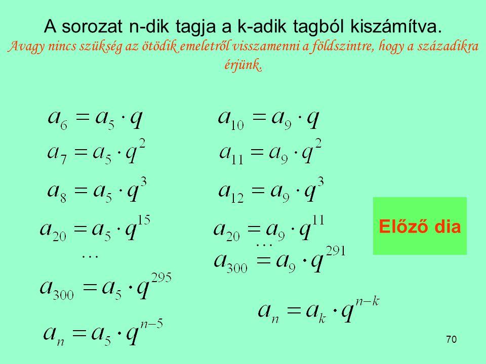 70 A sorozat n-dik tagja a k-adik tagból kiszámítva.