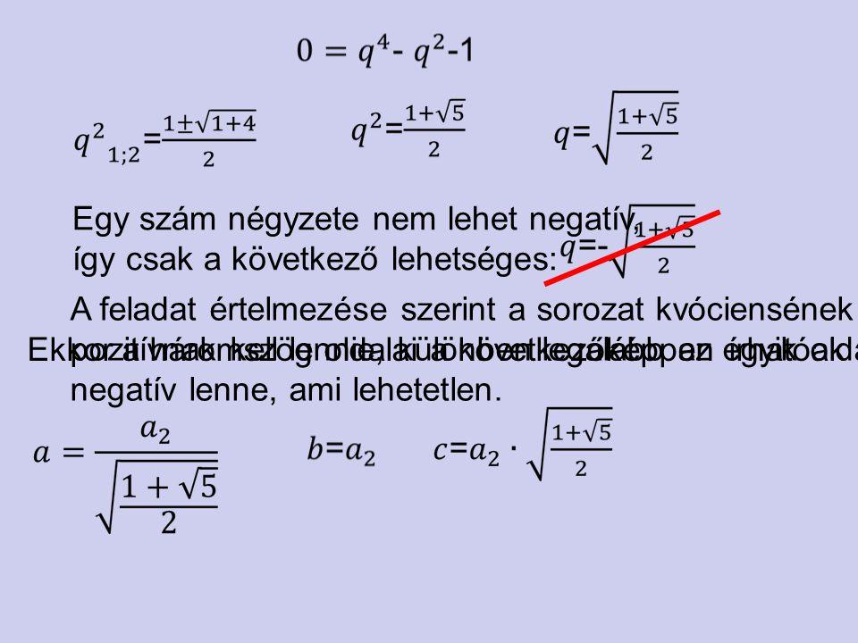 Egy szám négyzete nem lehet negatív, így csak a következő lehetséges: A feladat értelmezése szerint a sorozat kvóciensének pozitívnak kell lennie, kül