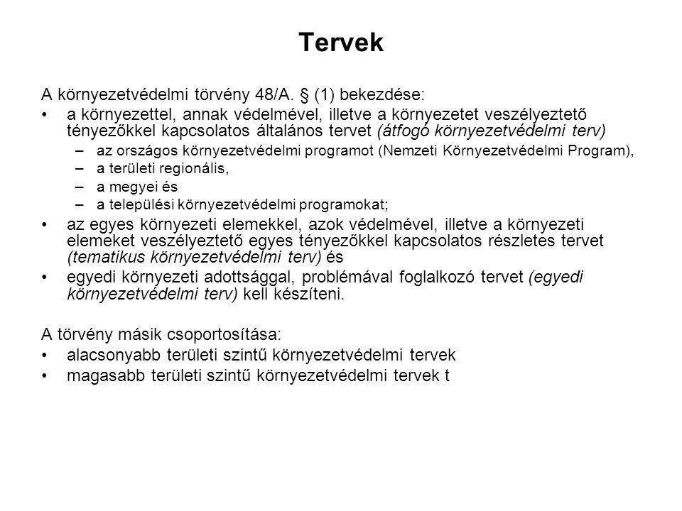 Tervek A környezetvédelmi törvény 48/A.