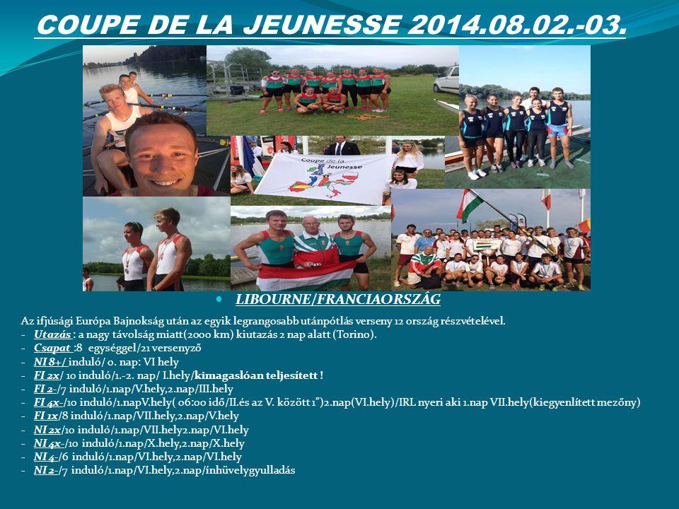 COUPE DE LA JEUNESSE 2014.08.02.-03. LIBOURNE/FRANCIAORSZÁG Az ifjúsági Európa Bajnokság után az egyik legrangosabb utánpótlás verseny 12 ország részv