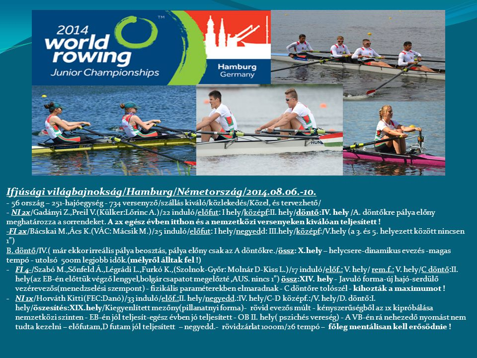 Ifjúsági világbajnokság/Hamburg/Németország/2014.08.06.-10. - 56 ország – 251-hajóegység - 734 versenyző/szállás kiváló/közlekedés/Közel, és tervezhet