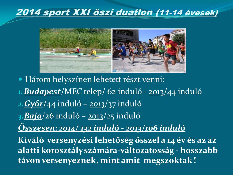 2014 sport XXI őszi duatlon ( 11-14 évesek) Három helyszínen lehetett részt venni: 1. Budapest/MEC telep/ 62 induló - 2013/44 induló 2. Győr/44 induló