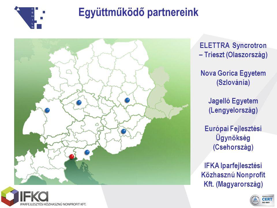 Együttműködő partnereink ELETTRA Syncrotron – Trieszt (Olaszország) Nova Gorica Egyetem (Szlovánia) Jagelló Egyetem (Lengyelország) Európai Fejlesztési Ügynökség (Csehország) IFKA Iparfejlesztési Közhasznú Nonprofit Kft.