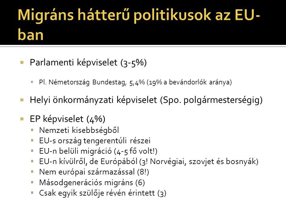  Parlamenti képviselet (3-5%)  Pl. Németország Bundestag, 5,4% (19% a bevándorlók aránya)  Helyi önkormányzati képviselet (Spo. polgármesterségig)