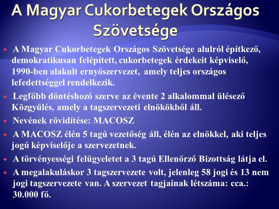  A Magyar Cukorbetegek Országos Szövetsége alulról építkező, demokratikusan felépített, cukorbetegek érdekeit képviselő, 1990-ben alakult ernyőszerve