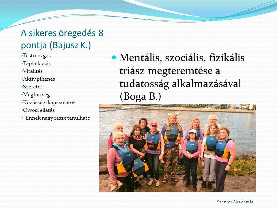 A sikeres öregedés 8 pontja (Bajusz K.) Testmozgás Táplálkozás Vitalitás Aktív pihenés Szeretet Meghittség Közösségi kapcsolatok Orvosi ellátás Ennek
