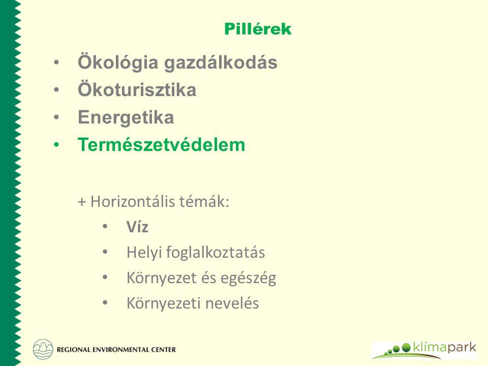 Pillérek Ökológia gazdálkodás Ökoturisztika Energetika Természetvédelem + Horizontális témák: Víz Helyi foglalkoztatás Környezet és egészég Környezeti