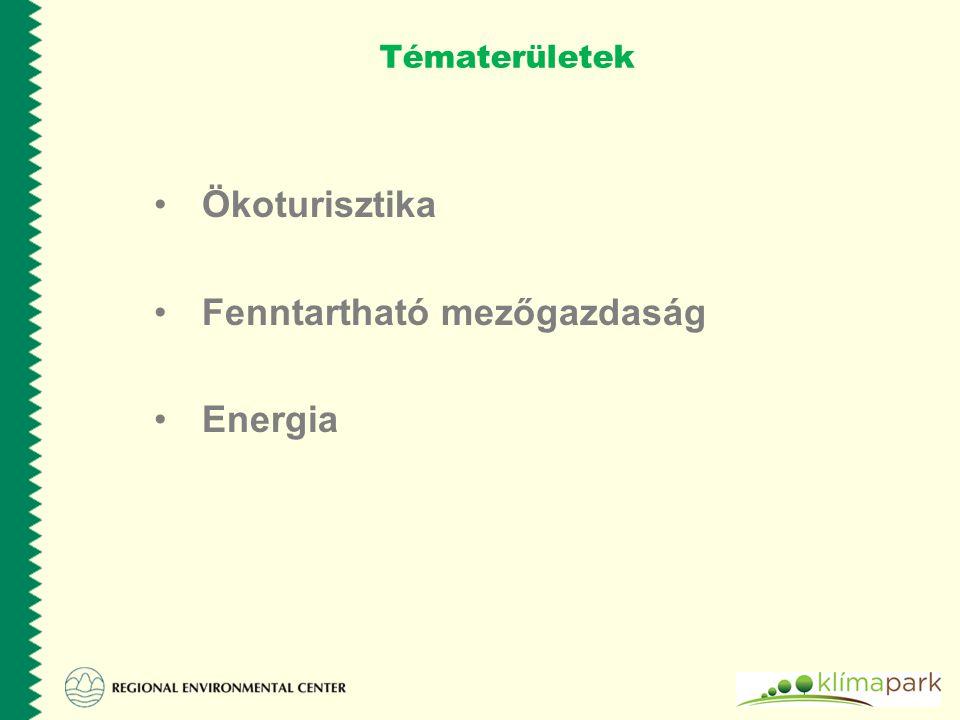 Pillérek Ökológia gazdálkodás Ökoturisztika Energetika Természetvédelem + Horizontális témák: Víz Helyi foglalkoztatás Környezet és egészég Környezeti nevelés