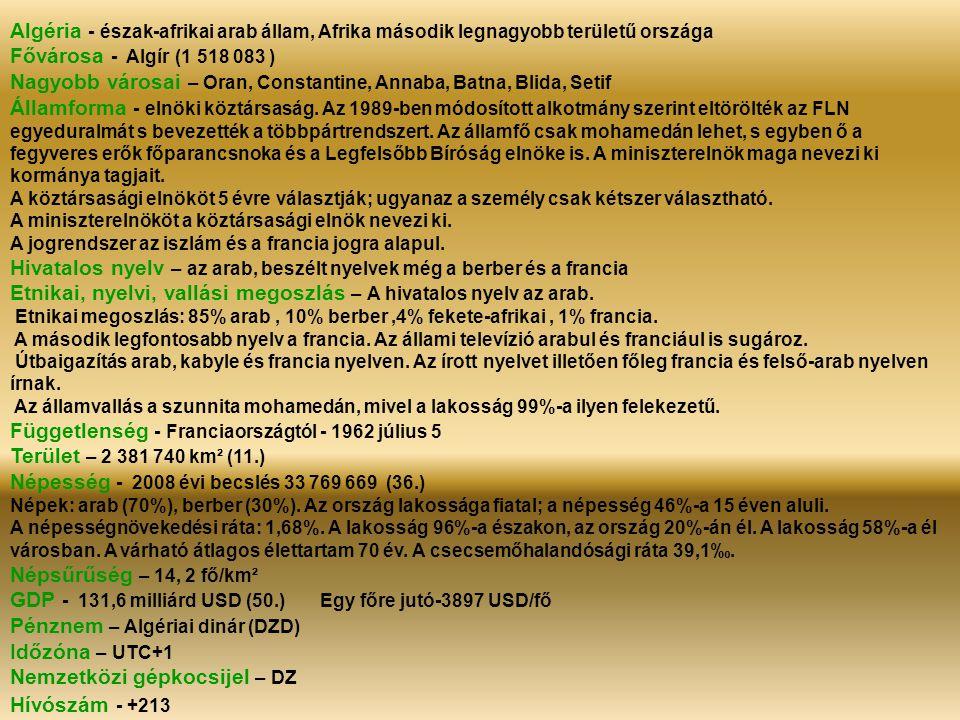Algéria - észak-afrikai arab állam, Afrika második legnagyobb területű országa Fővárosa - Algír (1 518 083 ) Nagyobb városai – Oran, Constantine, Annaba, Batna, Blida, Setif Államforma - elnöki köztársaság.