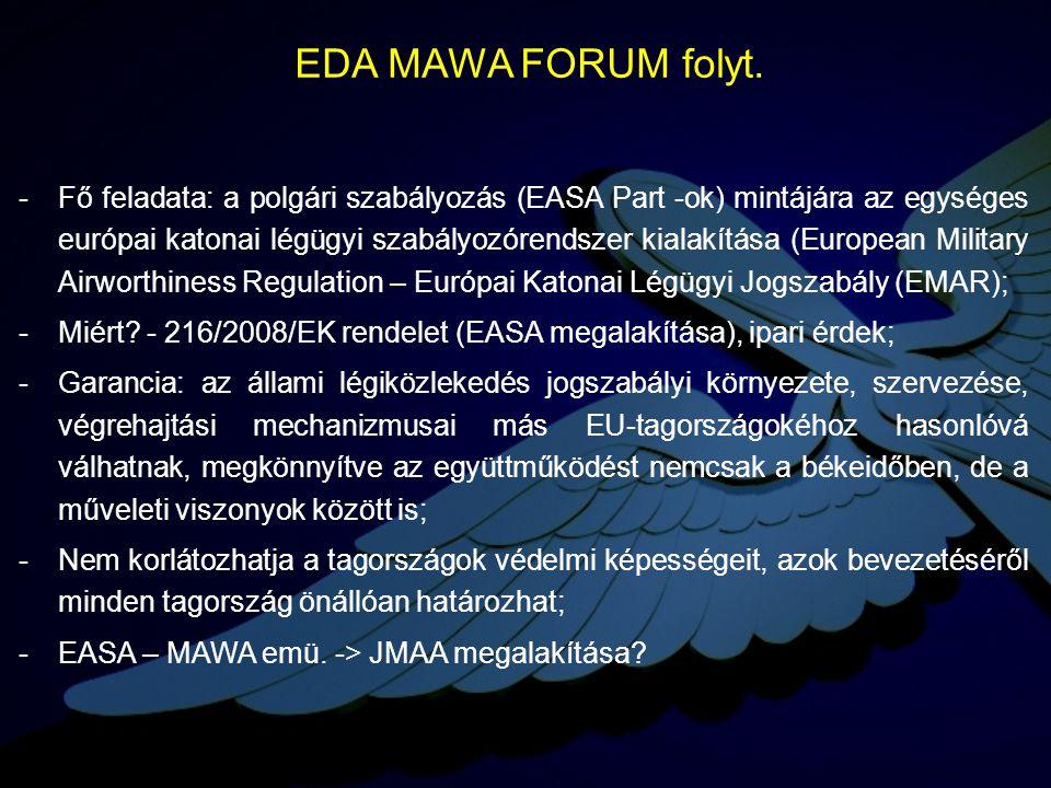 """-Jelenlegi ambíció a repülő-műszaki terület szabályozása (RPAS is); -Minden állami légijármű """"komplex motoros légijárműnek minősül; -Nem csak EU tagországok alkalmazzák; -European Military Airworthiness Document (EMAD): –EMAD 1 – Definition and Acronyms Document; –EMAD R – Recognition; –EMACC – European Military Airworthiness Certification Criteria –EMAR Implementation Guidance –EMAR Forms Document EMAR - European Military Airworthiness Regulation"""