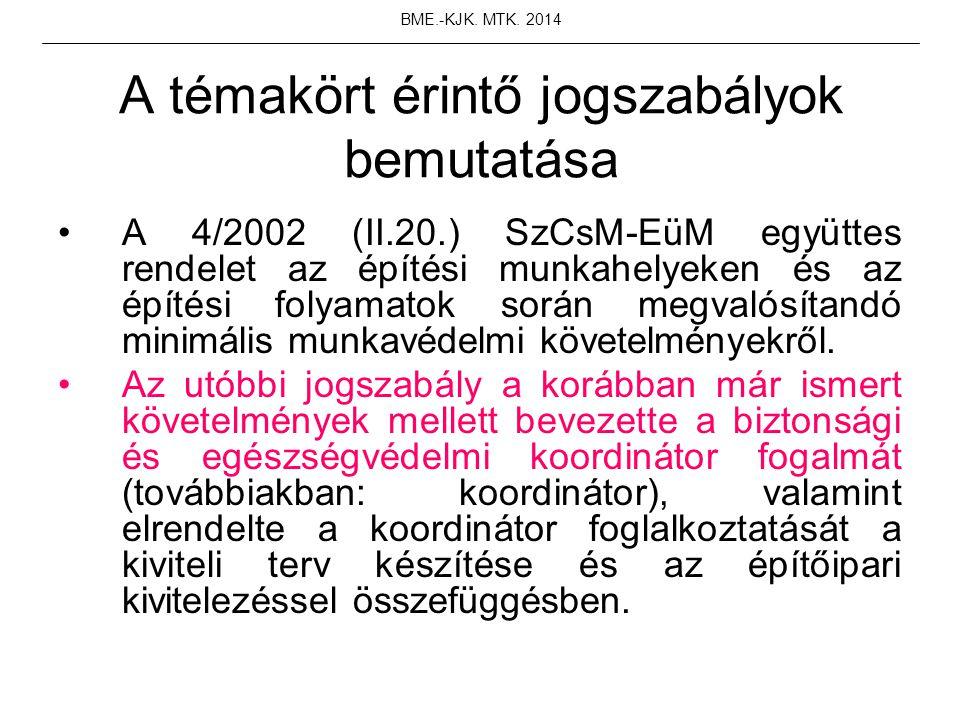 A témakört érintő jogszabályok bemutatása A 4/2002 (II.20.) SzCsM-EüM együttes rendelet az építési munkahelyeken és az építési folyamatok során megval