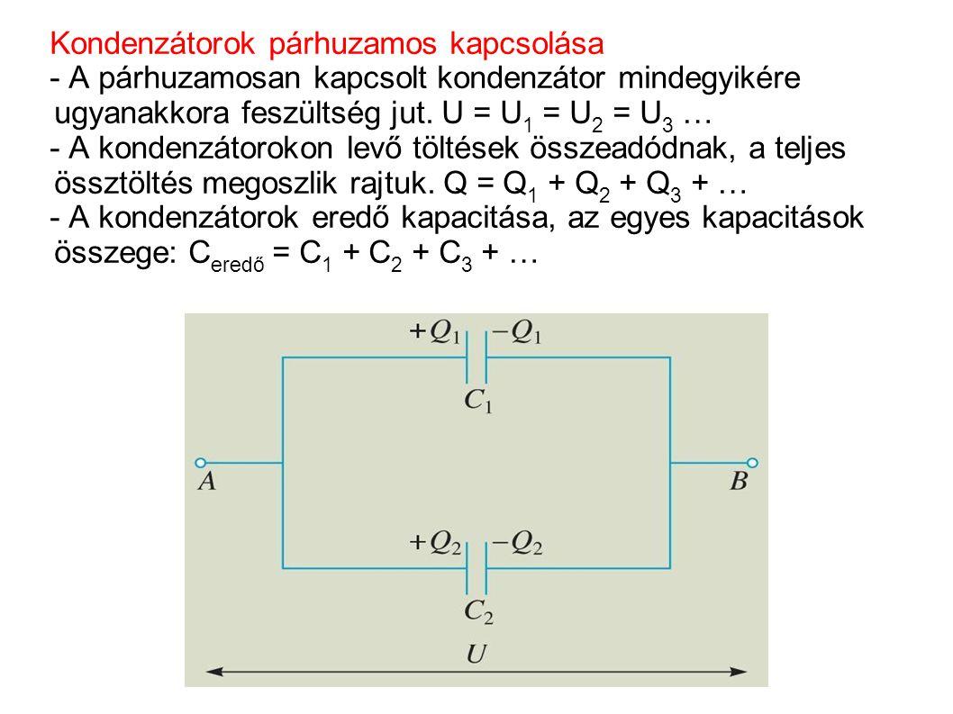 Kondenzátorok párhuzamos kapcsolása - A párhuzamosan kapcsolt kondenzátor mindegyikére ugyanakkora feszültség jut. U = U 1 = U 2 = U 3 … - A kondenzát