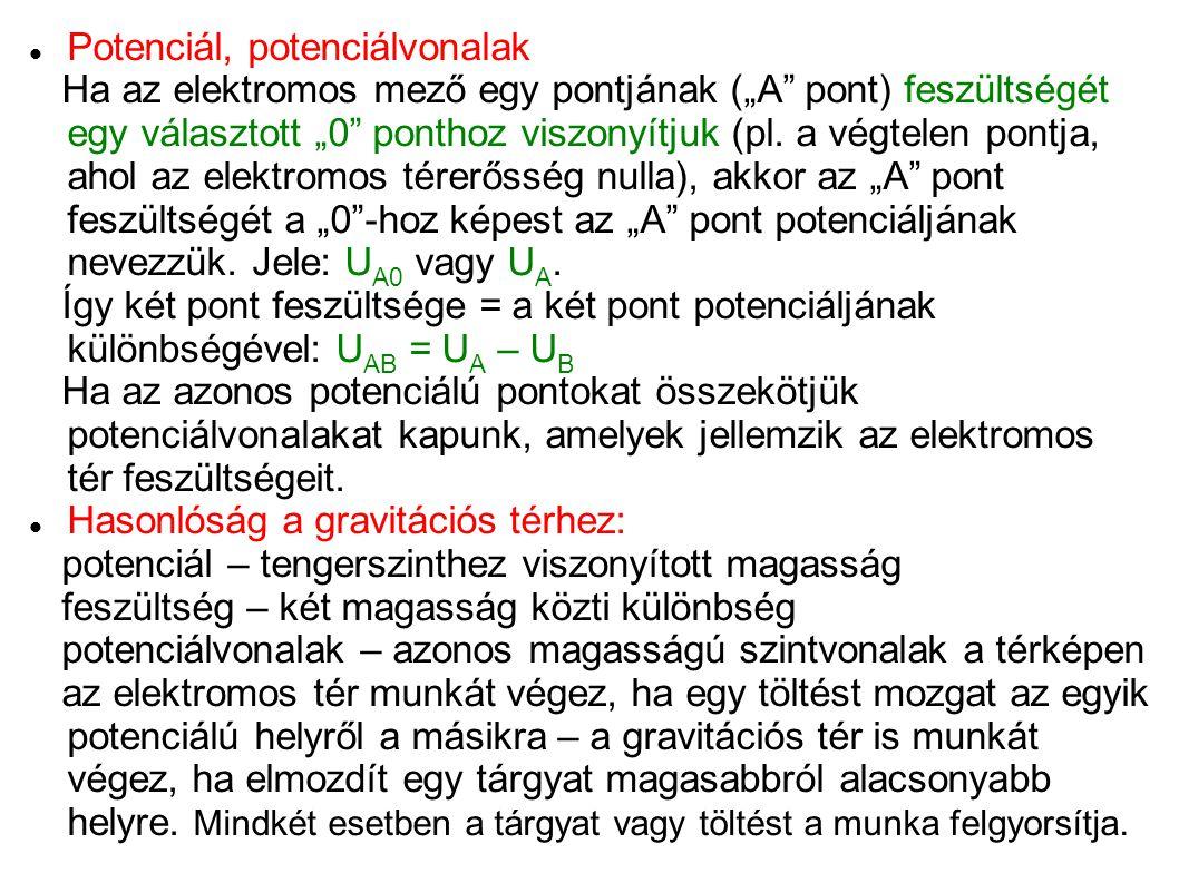 """Potenciál, potenciálvonalak Ha az elektromos mező egy pontjának (""""A"""" pont) feszültségét egy választott """"0"""" ponthoz viszonyítjuk (pl. a végtelen pontja"""