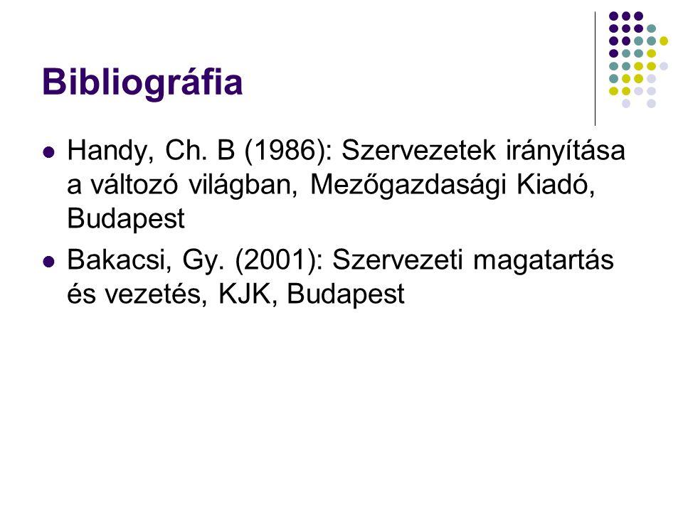 Bibliográfia Handy, Ch. B (1986): Szervezetek irányítása a változó világban, Mezőgazdasági Kiadó, Budapest Bakacsi, Gy. (2001): Szervezeti magatartás