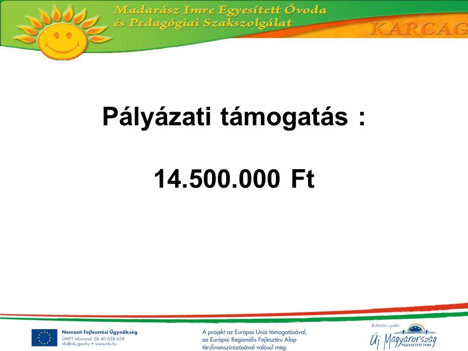 Pályázati támogatás : 14.500.000 Ft