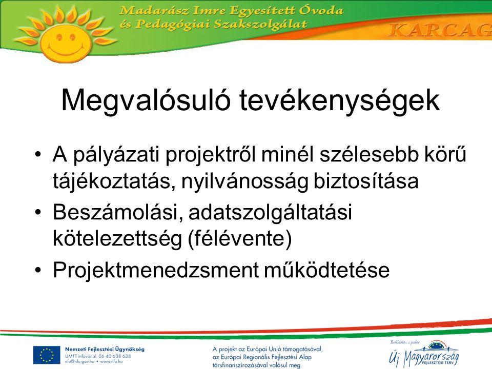 Megvalósuló tevékenységek A pályázati projektről minél szélesebb körű tájékoztatás, nyilvánosság biztosítása Beszámolási, adatszolgáltatási kötelezett