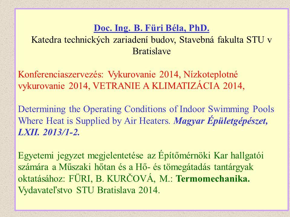 Doc. Ing. B. Füri Béla, PhD. Katedra technických zariadení budov, Stavebná fakulta STU v Bratislave Konferenciaszervezés: Vykurovanie 2014, Nízkoteplo