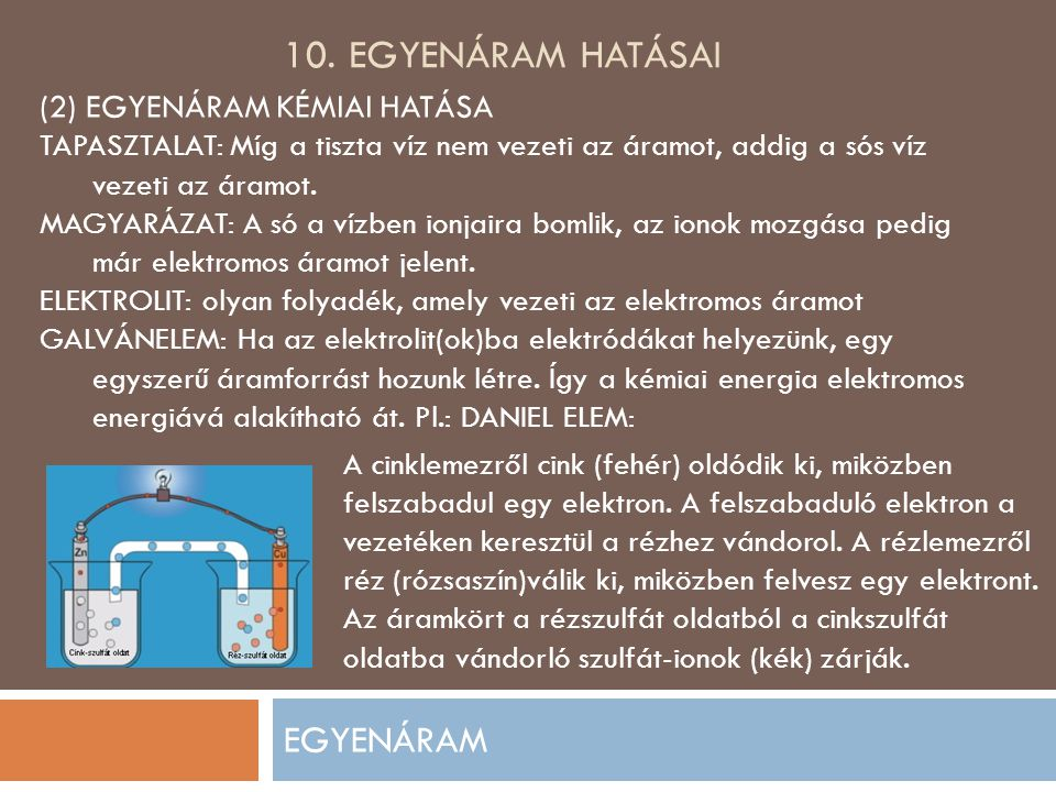 10. EGYENÁRAM HATÁSAI EGYENÁRAM (2) EGYENÁRAM KÉMIAI HATÁSA TAPASZTALAT: Míg a tiszta víz nem vezeti az áramot, addig a sós víz vezeti az áramot. MAGY