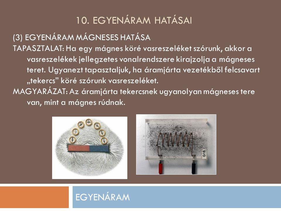 10. EGYENÁRAM HATÁSAI EGYENÁRAM (3) EGYENÁRAM MÁGNESES HATÁSA TAPASZTALAT: Ha egy mágnes köré vasreszeléket szórunk, akkor a vasreszelékek jellegzetes