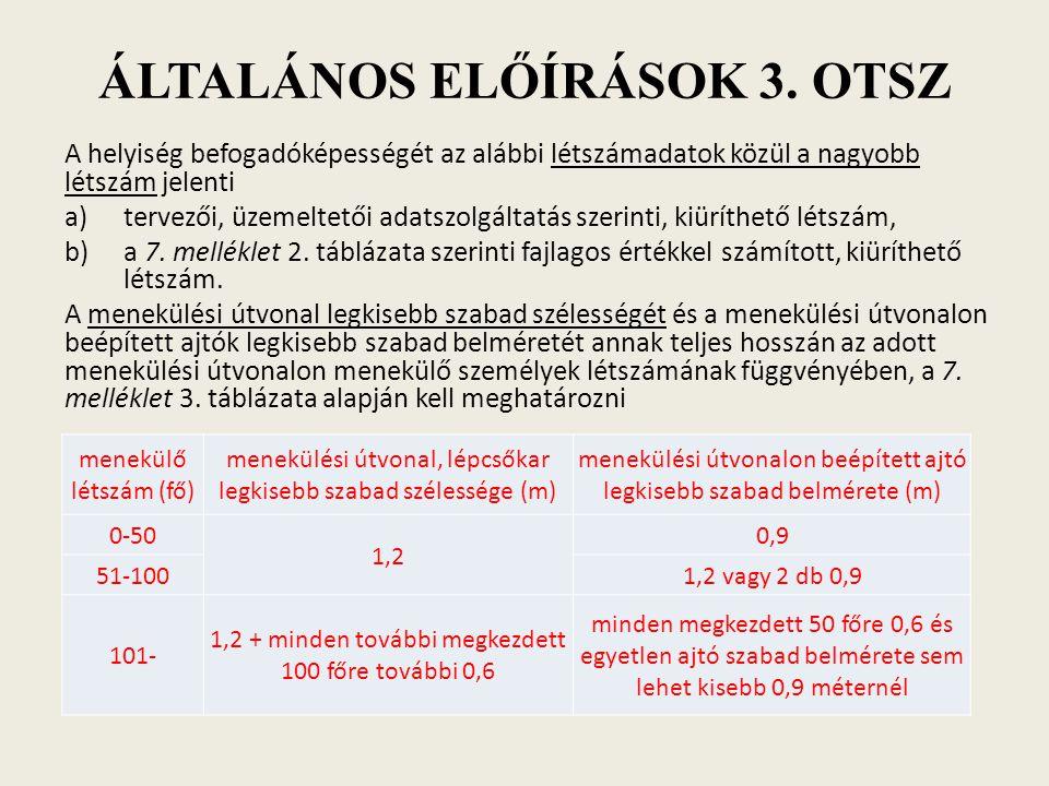 ÁLTALÁNOS ELŐÍRÁSOK 3. OTSZ A helyiség befogadóképességét az alábbi létszámadatok közül a nagyobb létszám jelenti a)tervezői, üzemeltetői adatszolgált
