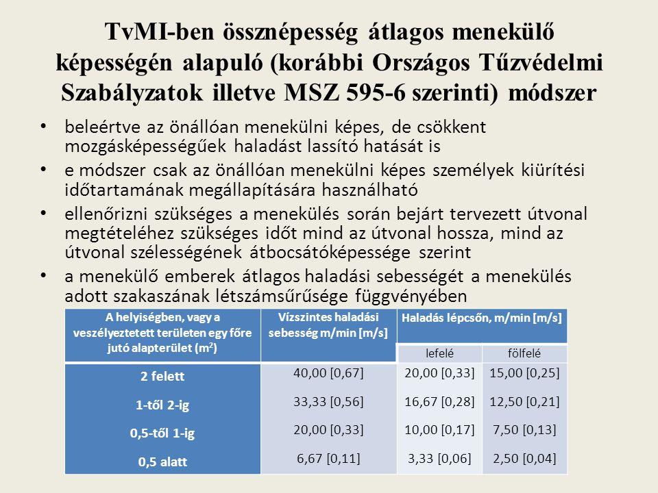TvMI-ben össznépesség átlagos menekülő képességén alapuló (korábbi Országos Tűzvédelmi Szabályzatok illetve MSZ 595-6 szerinti) módszer beleértve az ö