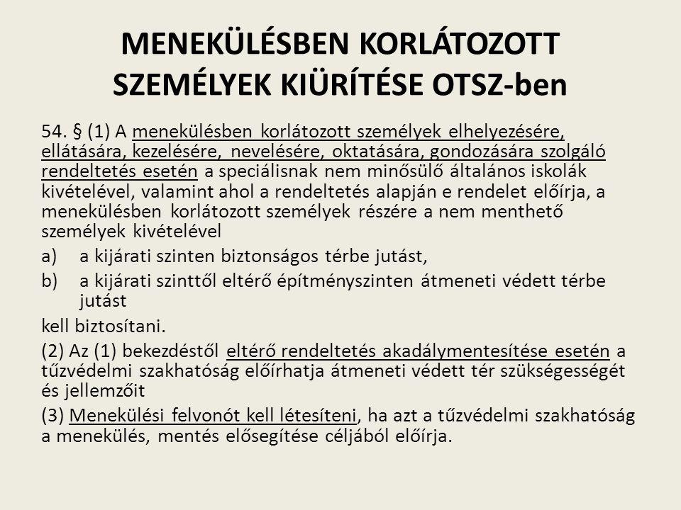 MENEKÜLÉSBEN KORLÁTOZOTT SZEMÉLYEK KIÜRÍTÉSE OTSZ-ben 54.