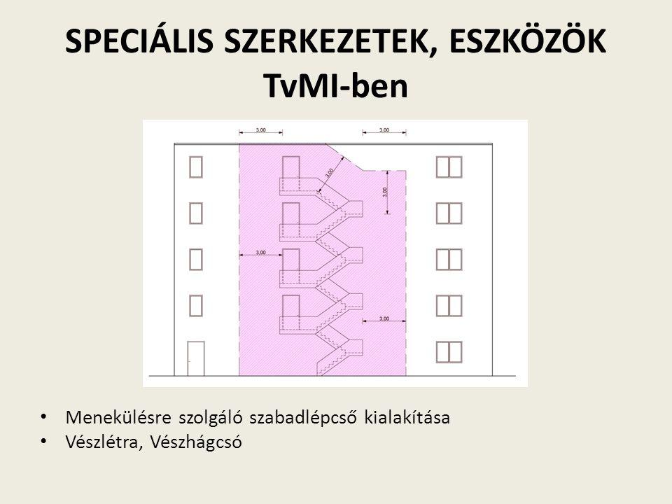 SPECIÁLIS SZERKEZETEK, ESZKÖZÖK TvMI-ben Menekülésre szolgáló szabadlépcső kialakítása Vészlétra, Vészhágcsó