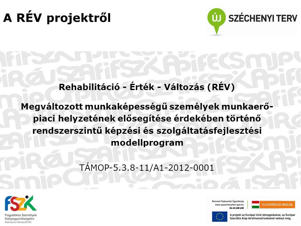 A RÉV projektről Rehabilitáció - Érték - Változás (RÉV) Megváltozott munkaképességű személyek munkaerő- piaci helyzetének elősegítése érdekében történ