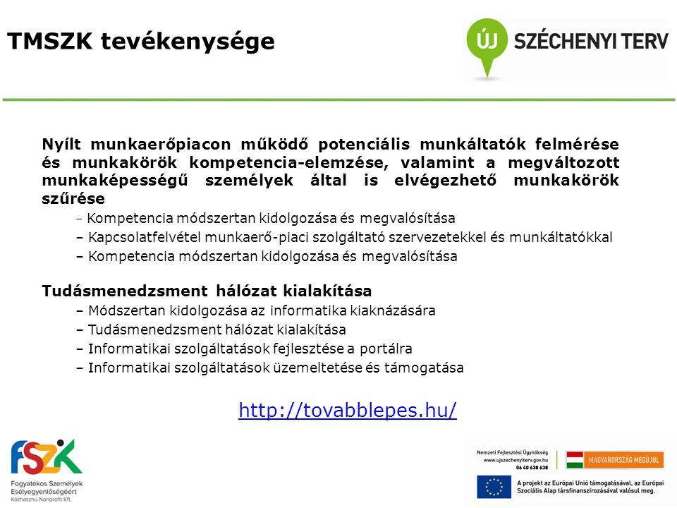 TMSZK tevékenysége Nyílt munkaerőpiacon működő potenciális munkáltatók felmérése és munkakörök kompetencia-elemzése, valamint a megváltozott munkaképe