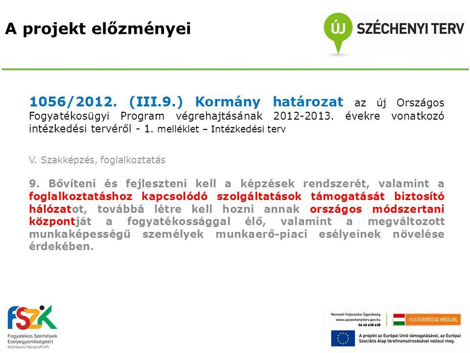 A projekt előzményei 1056/2012. (III.9.) Kormány határozat az új Országos Fogyatékosügyi Program végrehajtásának 2012-2013. évekre vonatkozó intézkedé