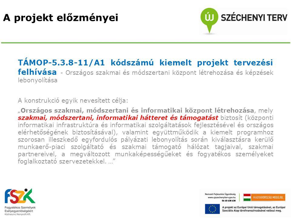A projekt előzményei TÁMOP-5.3.8-11/A1 kódszámú kiemelt projekt tervezési felhívása - Országos szakmai és módszertani központ létrehozása és képzések