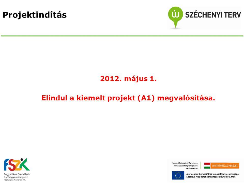 Projektindítás 2012. május 1. Elindul a kiemelt projekt (A1) megvalósítása.
