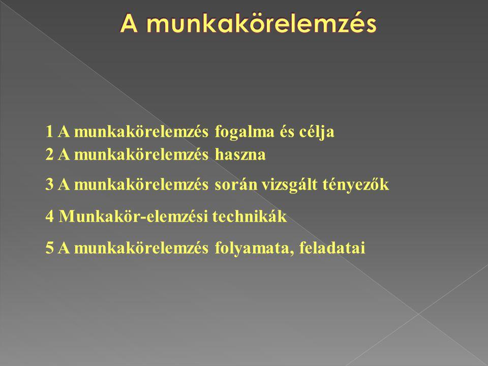 2.1.A munkaköri leírás fogalma, célja 2.2. A munkaköri leírás készítésének alapelvei 2.3.