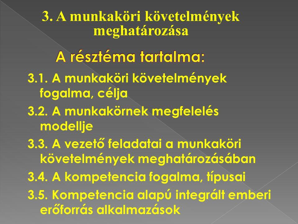 3.1. A munkaköri követelmények fogalma, célja 3.2. A munkakörnek megfelelés modellje 3.3. A vezető feladatai a munkaköri követelmények meghatározásába