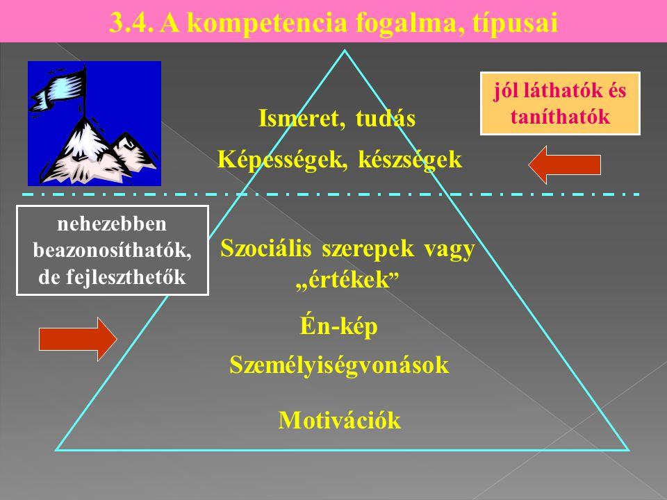 """Ismeret, tudás Szociális szerepek vagy """"értékek """" Én-kép Személyiségvonások Motivációk 3.4. A kompetencia fogalma, típusai Képességek, készségek jól l"""