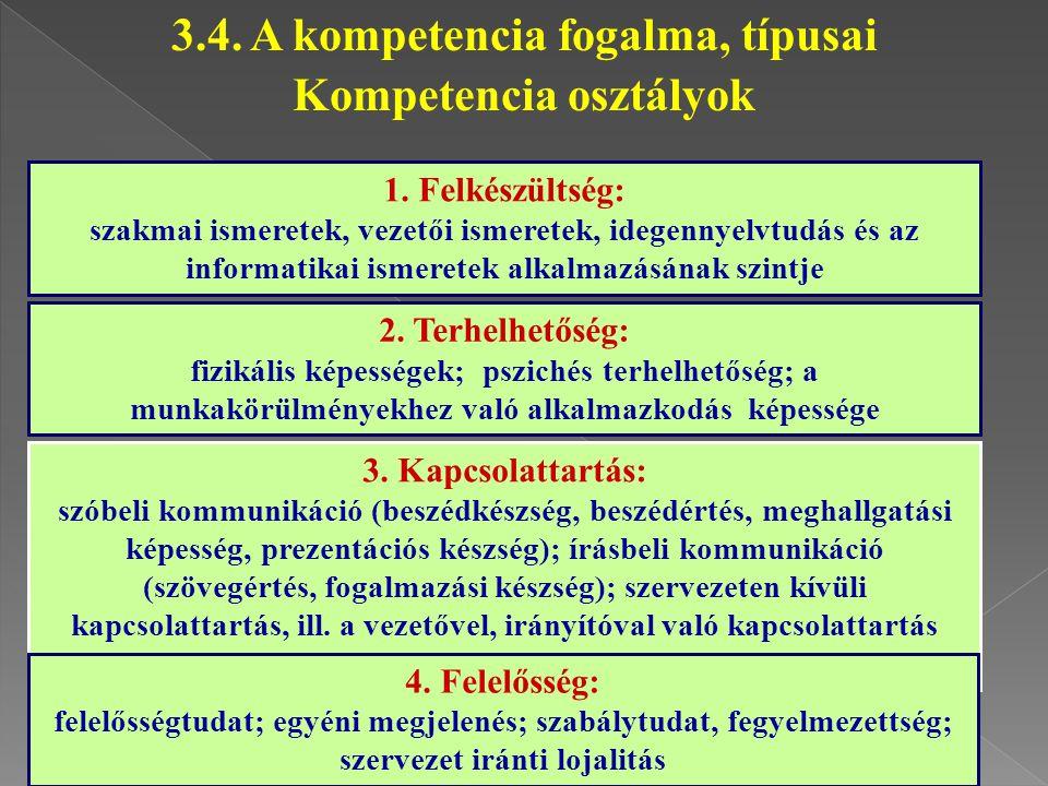 1. Felkészültség: szakmai ismeretek, vezetői ismeretek, idegennyelvtudás és az informatikai ismeretek alkalmazásának szintje 2. Terhelhetőség: fizikál