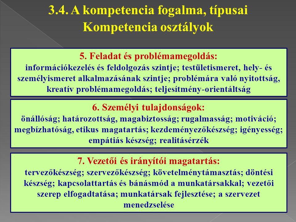 5. Feladat és problémamegoldás: információkezelés és feldolgozás szintje; testületismeret, hely- és személyismeret alkalmazásának szintje; problémára