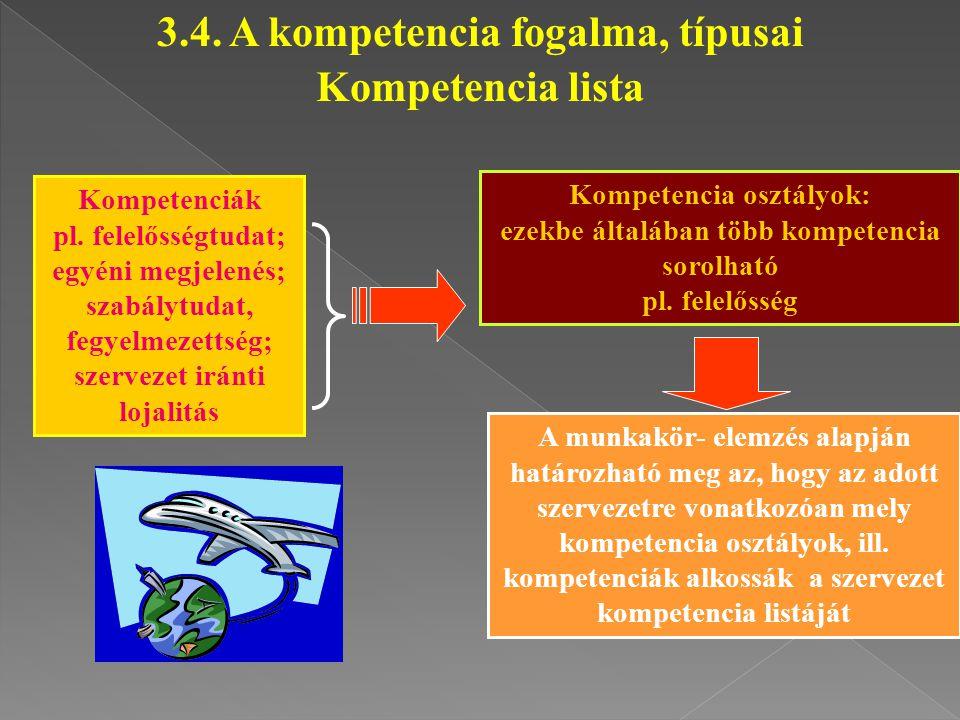 Kompetenciák pl. felelősségtudat; egyéni megjelenés; szabálytudat, fegyelmezettség; szervezet iránti lojalitás Kompetencia osztályok: ezekbe általában
