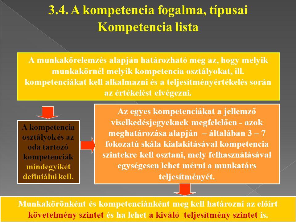 A munkakörelemzés alapján határozható meg az, hogy melyik munkakörnél melyik kompetencia osztályokat, ill. kompetenciákat kell alkalmazni és a teljesí