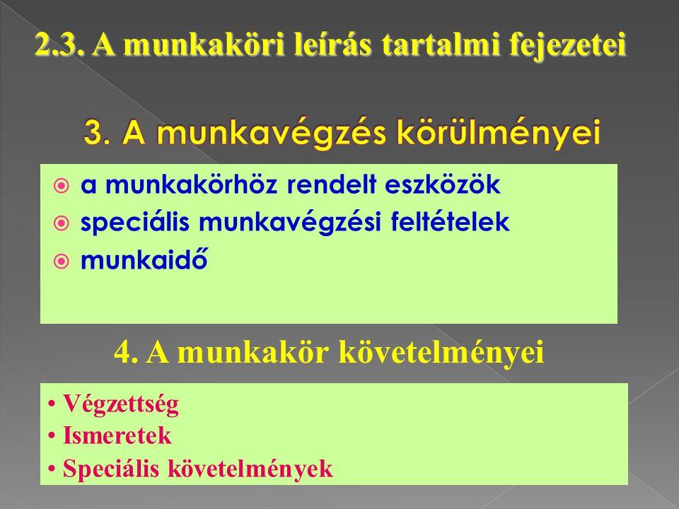  a munkakörhöz rendelt eszközök  speciális munkavégzési feltételek  munkaidő 2.3. A munkaköri leírás tartalmi fejezetei 4. A munkakör követelményei