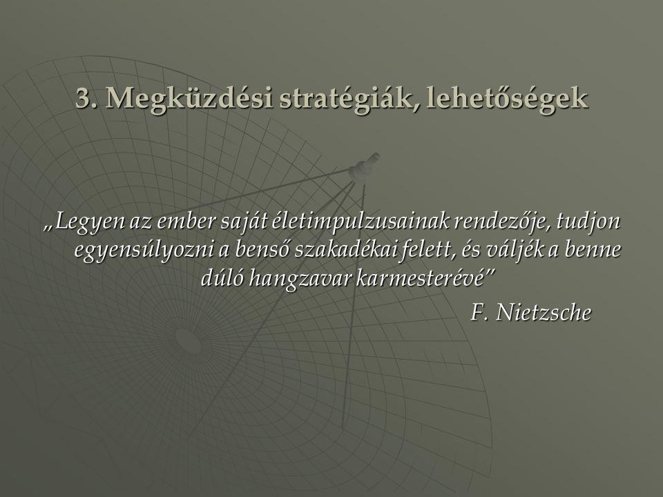 """3. Megküzdési stratégiák, lehetőségek """"Legyen az ember saját életimpulzusainak rendezője, tudjon egyensúlyozni a benső szakadékai felett, és váljék a"""
