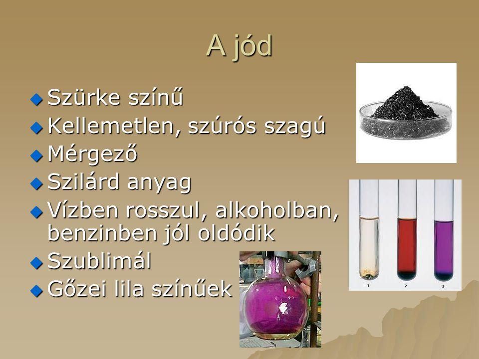 A jód  Szürke színű  Kellemetlen, szúrós szagú  Mérgező  Szilárd anyag  Vízben rosszul, alkoholban, benzinben jól oldódik  Szublimál  Gőzei lila színűek